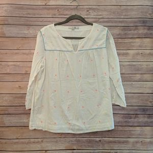 Boden white pink yellow embroidered 3/4 blouse